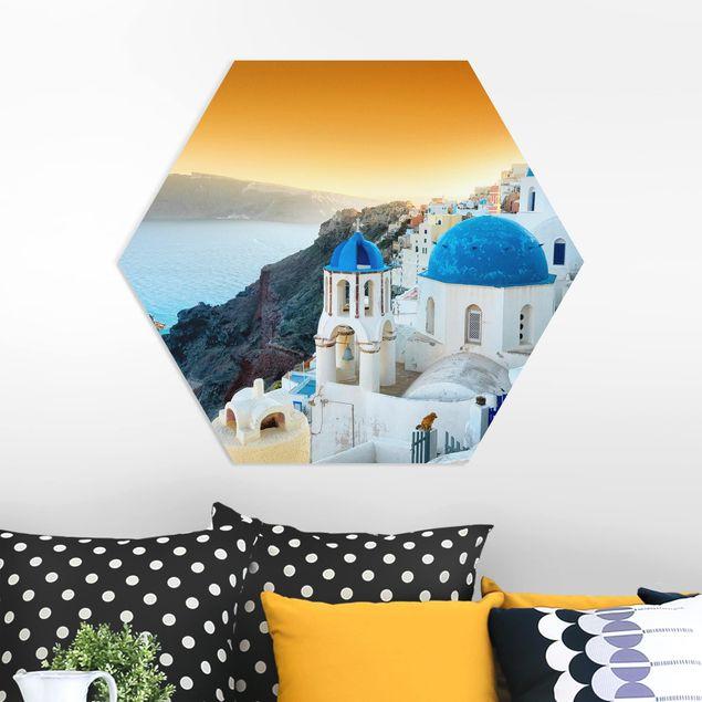 Hexagon Bild Forex - Sonnenuntergang über Santorin