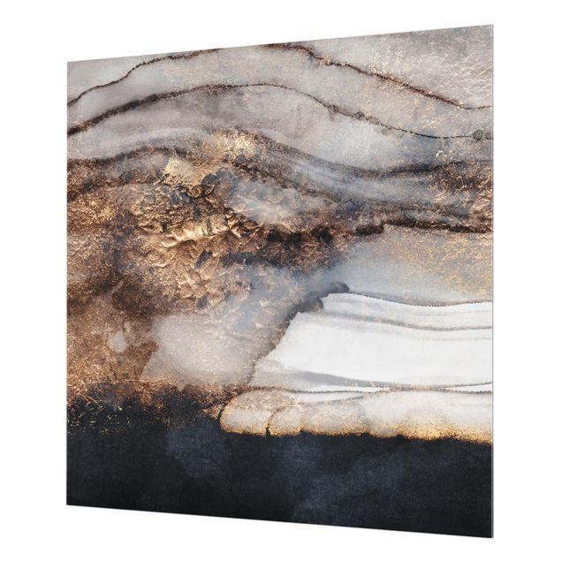 Glas Spritzschutz - Goldener Marmor gemalt - Quadrat - 1:1