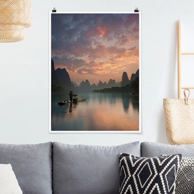 Poster - Sonnenaufgang über chinesischem Fluss - Hochformat 3:4