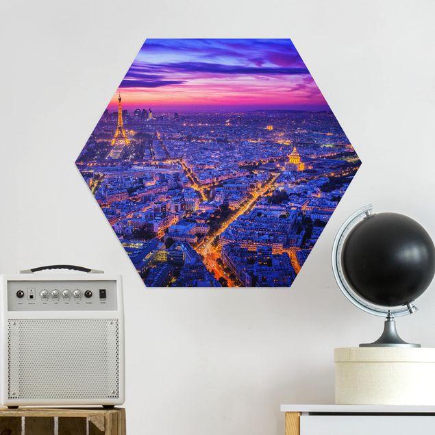 Hexagon Bild Alu-Dibond - Paris bei Nacht