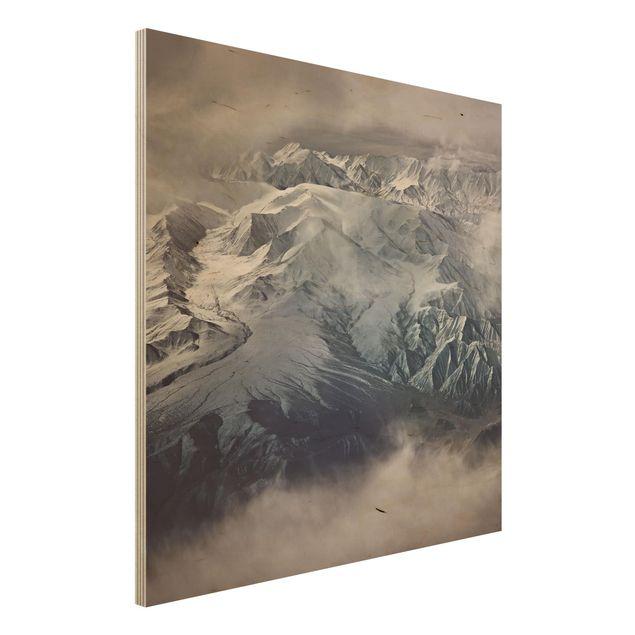 Holzbild - Berge von Tibet - Quadrat 1:1