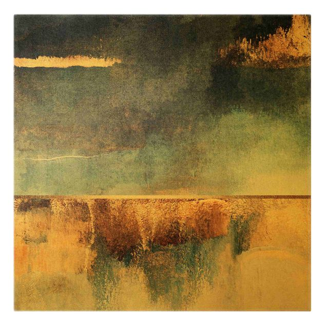 Leinwandbild Gold - Abstraktes Seeufer in Gold - Quadrat 1:1