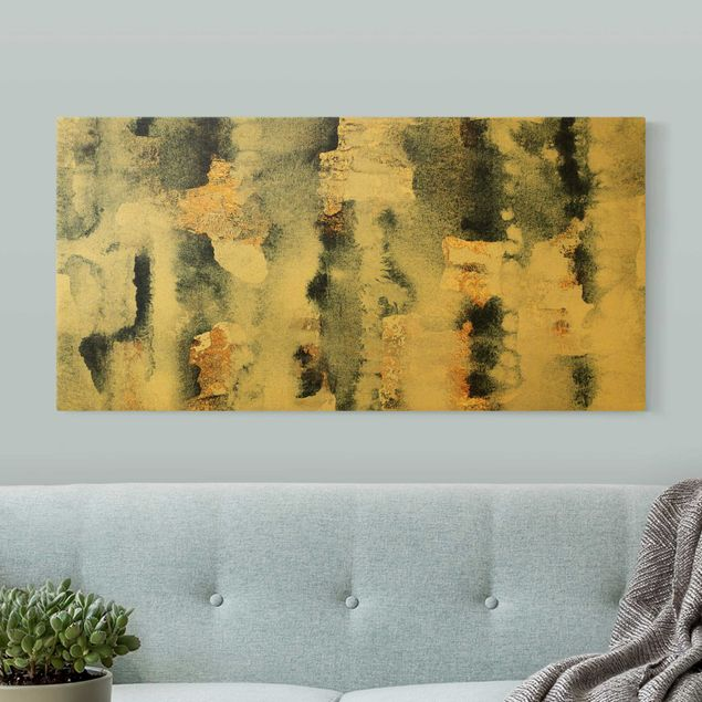 Leinwandbild Gold - Abstraktes Aquarell mit Gold - Querformat 2:1