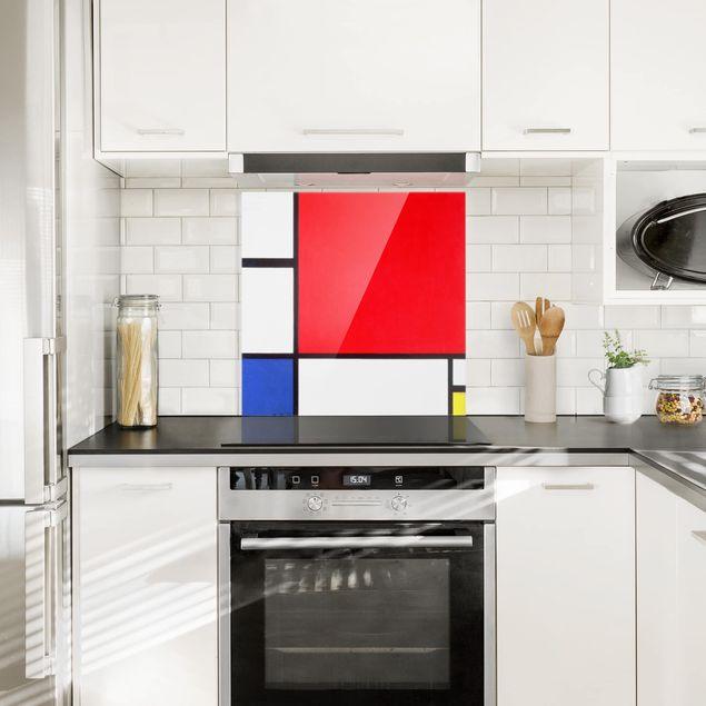 Glas Spritzschutz - Piet Mondrian - Komposition Rot Blau Gelb - Quadrat - 1:1