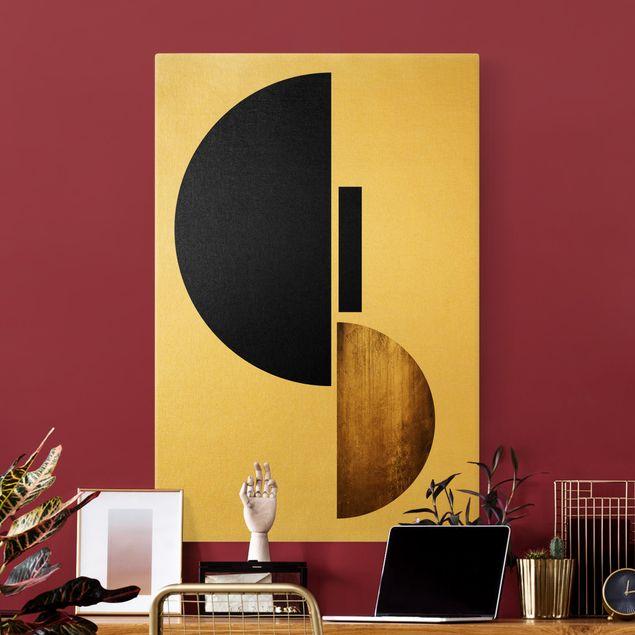 Leinwandbild Gold - Geometrischer Halbkreis I - Hochformat 2:3