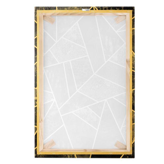 Leinwandbild Gold - Goldene Geometrie - Graue Dreiecke - Hochformat 2:3