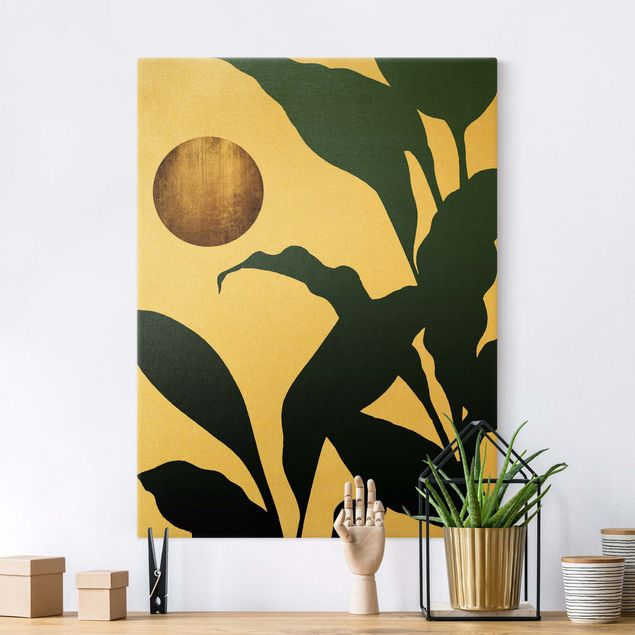 Leinwandbild Gold - Goldener Mond im Dschungel - Hochformat 3:4