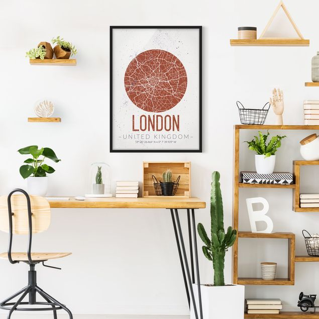 Bild mit Rahmen - Stadtplan London - Retro - Hochformat 3:4