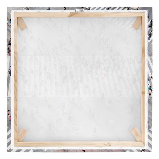 Leinwandbild - Gewusel von oben - Quadrat 1:1