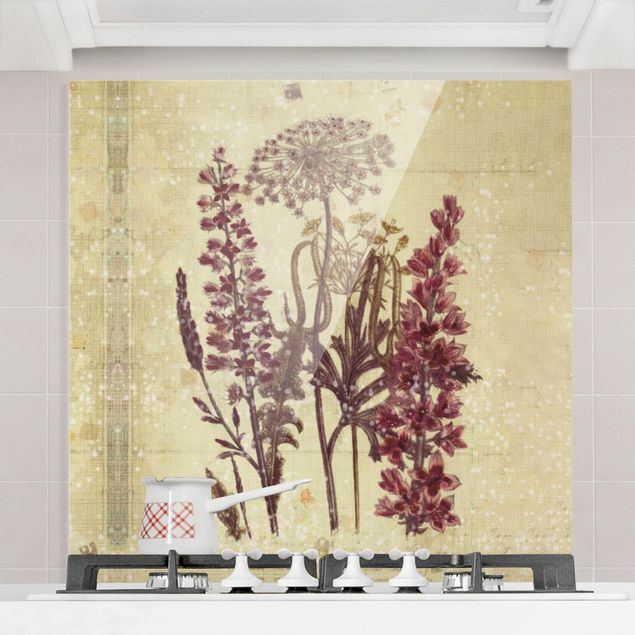 Glas Spritzschutz - Vintage Leinenoptik Blumen - Quadrat - 1:1