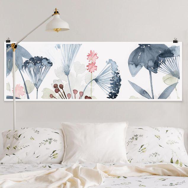 Poster - Wildblumen Aquarell I - Panorama Querformat