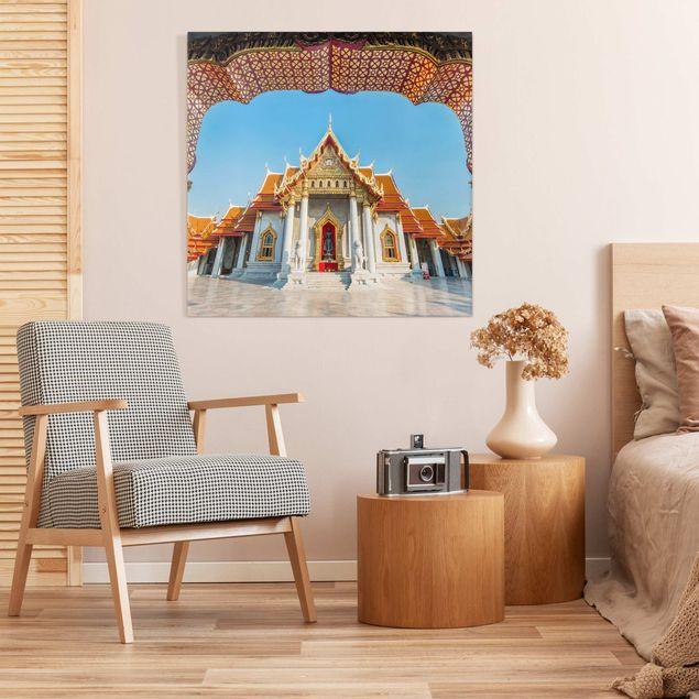 Leinwandbild - Tempel in Bangkok - Quadrat 1:1