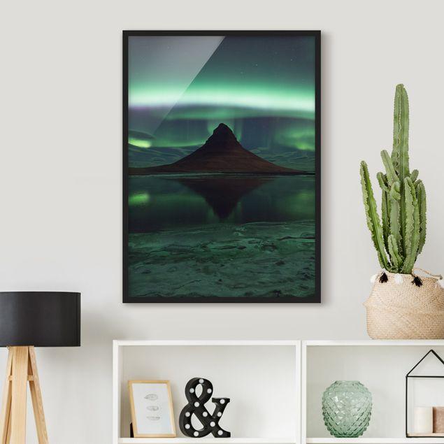 Bild mit Rahmen - Polarlicht in Island - Hochformat 3:4
