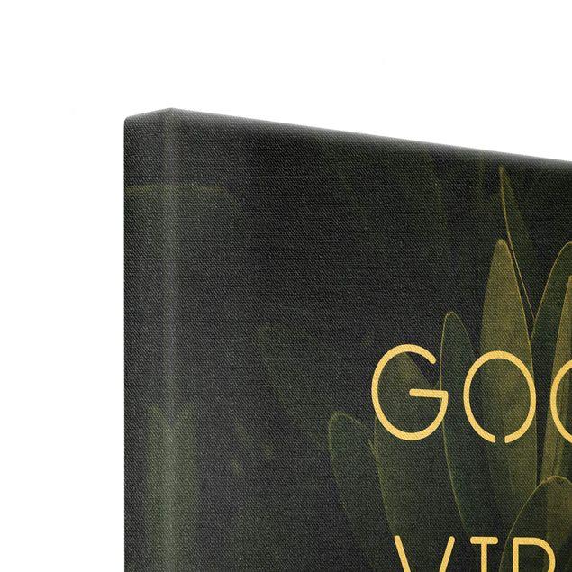 Leinwandbild Gold - Good Vibes Only Tropical - Quadrat 1:1