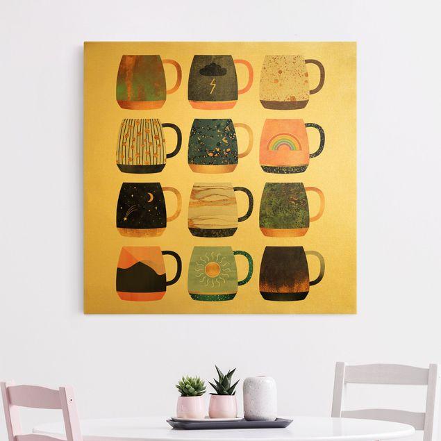 Leinwandbild Gold - Lieblingstassen mit Gold - Quadrat 1:1