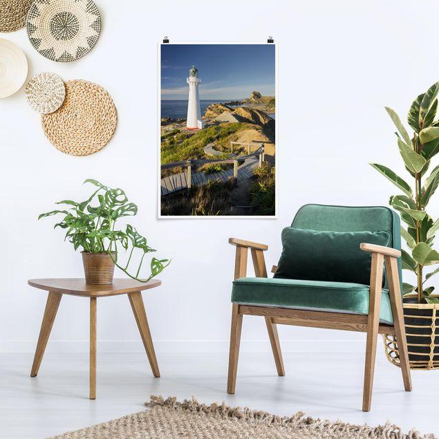 Poster - Castle Point Leuchtturm Neuseeland - Hochformat 3:2