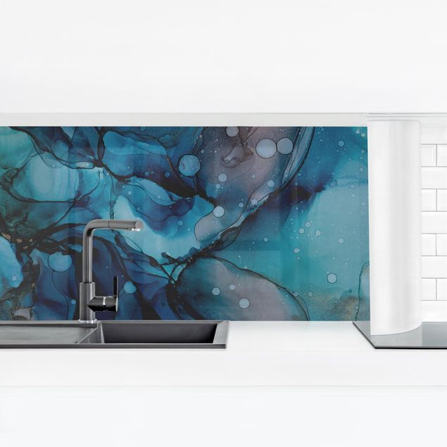 Küchenrückwand - Unterwasser in Petrol und Rot mit Gold