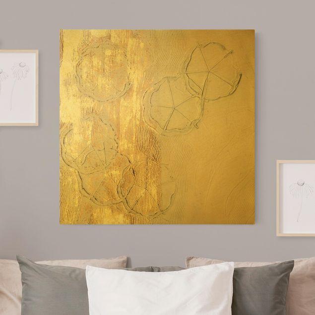 Leinwandbild Gold - Kirschblütensaison Gold I - Quadrat 1:1