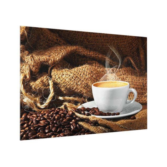 Glas Spritzschutz - Kaffee am Morgen - Querformat - 4:3