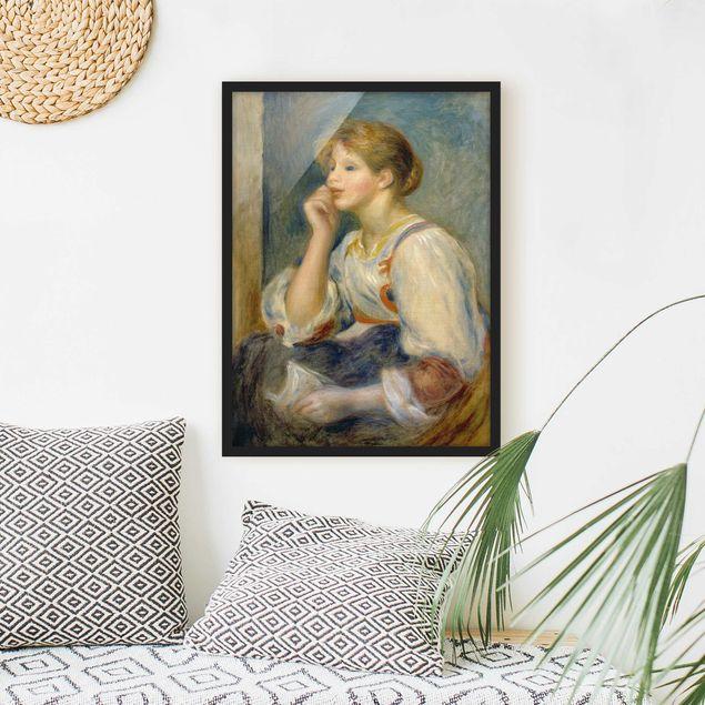 Bild mit Rahmen - Auguste Renoir - Junges Mädchen mit Brief - Hochformat 3:4
