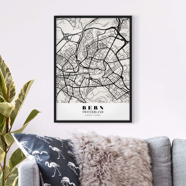 Bild mit Rahmen - Stadtplan Bern - Klassik - Hochformat 3:4