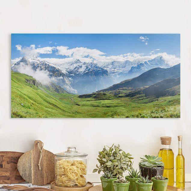 Leinwandbild - Schweizer Alpenpanorama - Querformat 2:1
