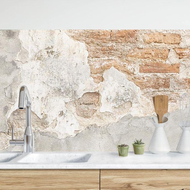 Küchenrückwand - Shabby Backstein Wand
