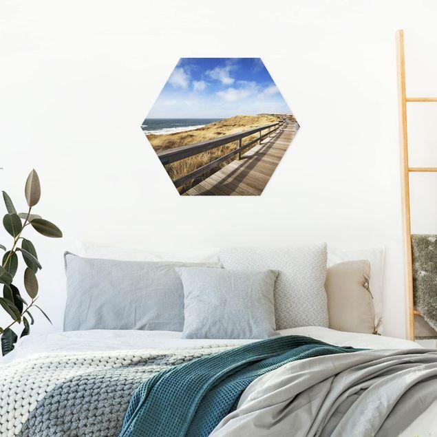 Hexagon Bild Alu-Dibond - Nordseespaziergang