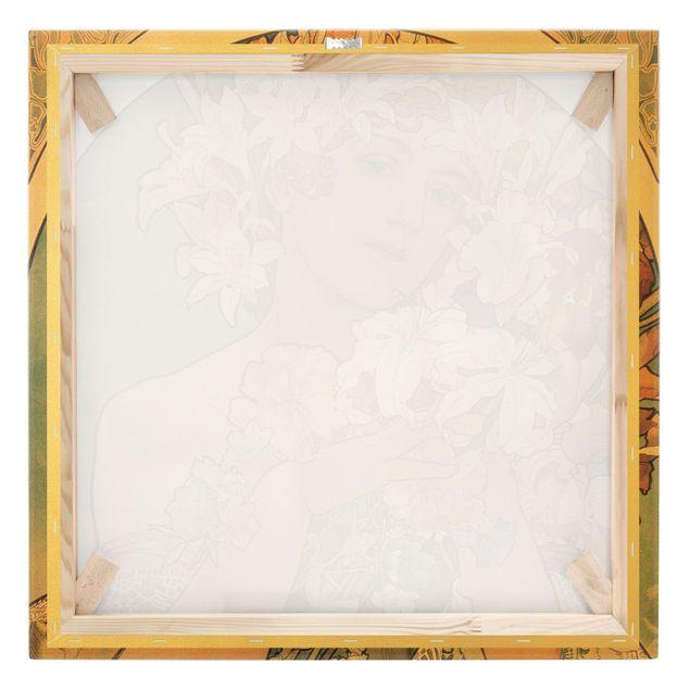 Leinwandbild Gold - Alfons Mucha - Blume - Quadrat 1:1
