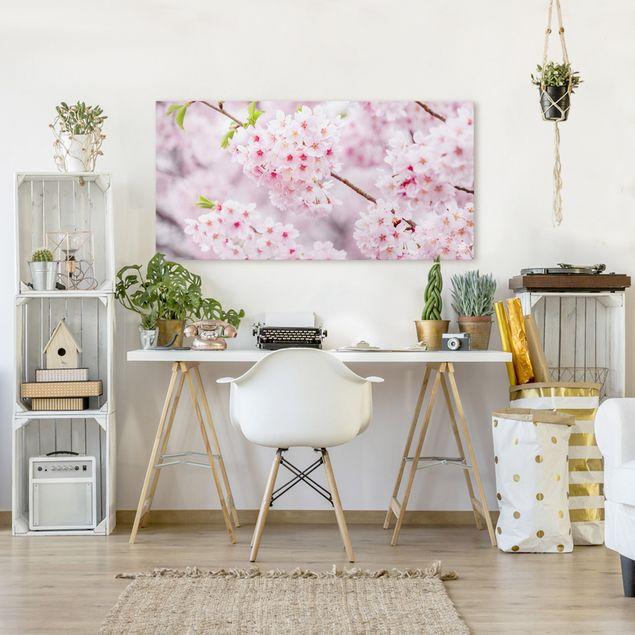 Leinwandbild - Japanische Kirschblüten - Querformat 2:1