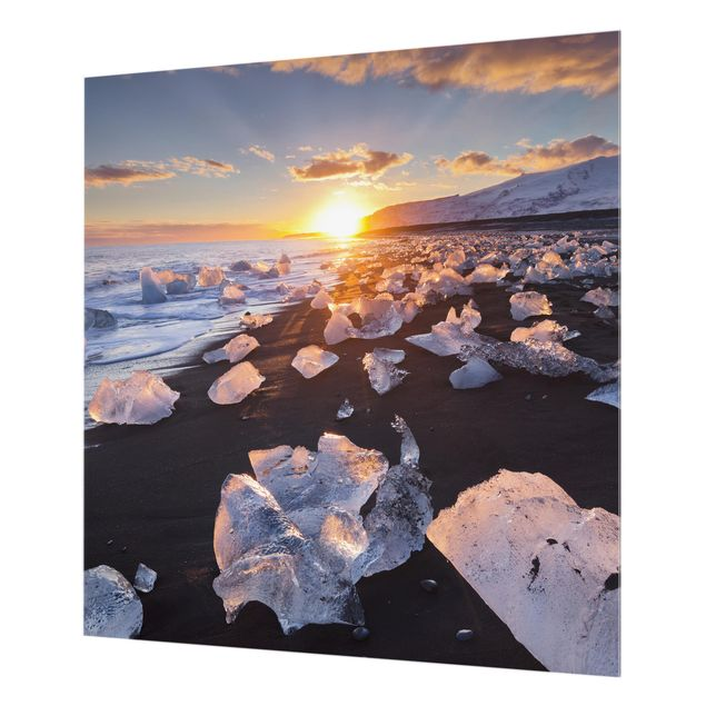 Glas Spritzschutz - Eisbrocken am Strand Island - Quadrat - 1:1
