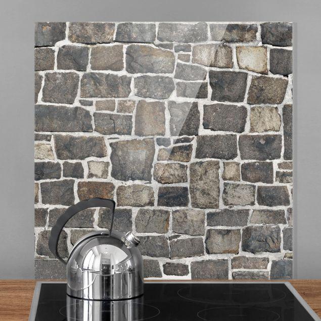 Glas Spritzschutz - Bruchsteintapete Natursteinwand - Quadrat - 1:1