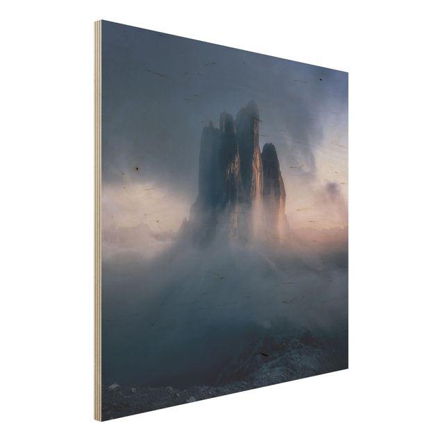 Holzbild - Drei Zinnen in blauem Licht - Quadrat 1:1