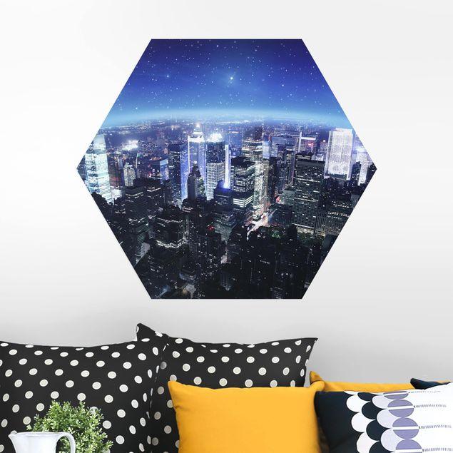 Hexagon Bild Alu-Dibond - Illuminated New York