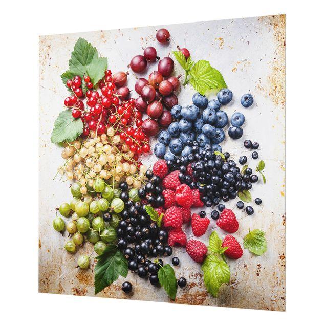 Glas Spritzschutz - Mischung aus Beeren auf Metall - Quadrat - 1:1