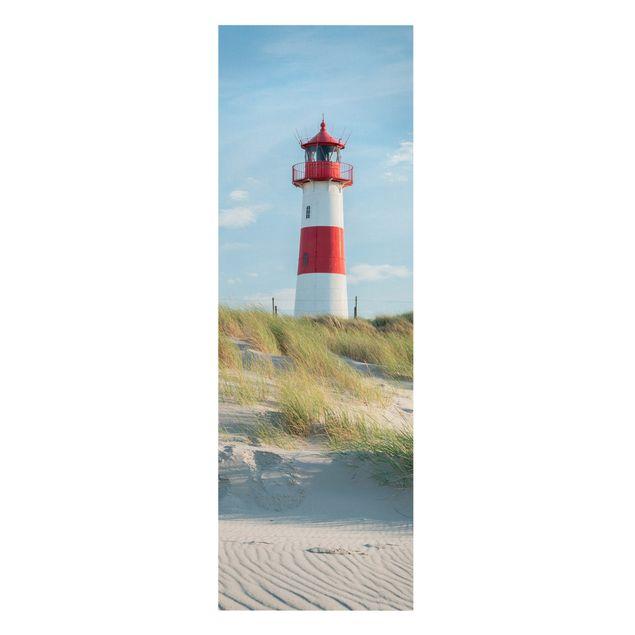 Leinwandbild - Leuchtturm an der Nordsee - Panorama Hochformat 1:3