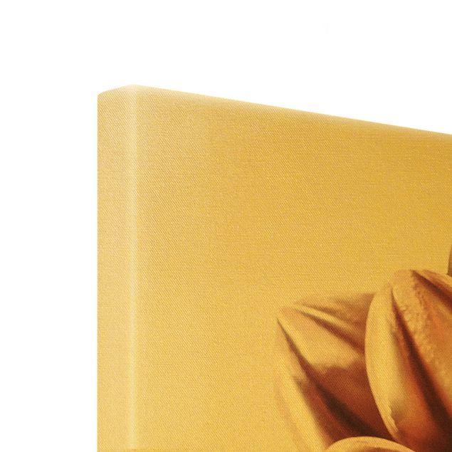 Leinwandbild Gold - Dahlie in Kupfergold - Hochformat 3:4