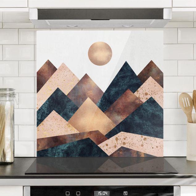 Glas Spritzschutz - Geometrische Berge Bronze - Quadrat - 1:1