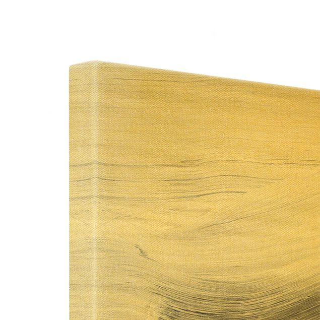 Leinwandbild Gold - Geschwungene Wellen Schwarz Weiß - Quadrat 1:1