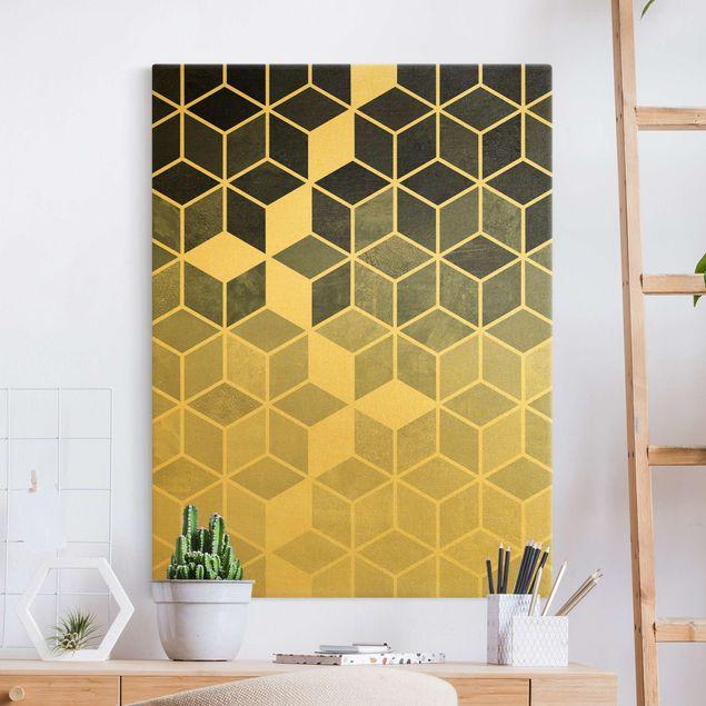 Leinwandbild Gold - Goldene Geometrie - Blau Weiß - Hochformat 3:4