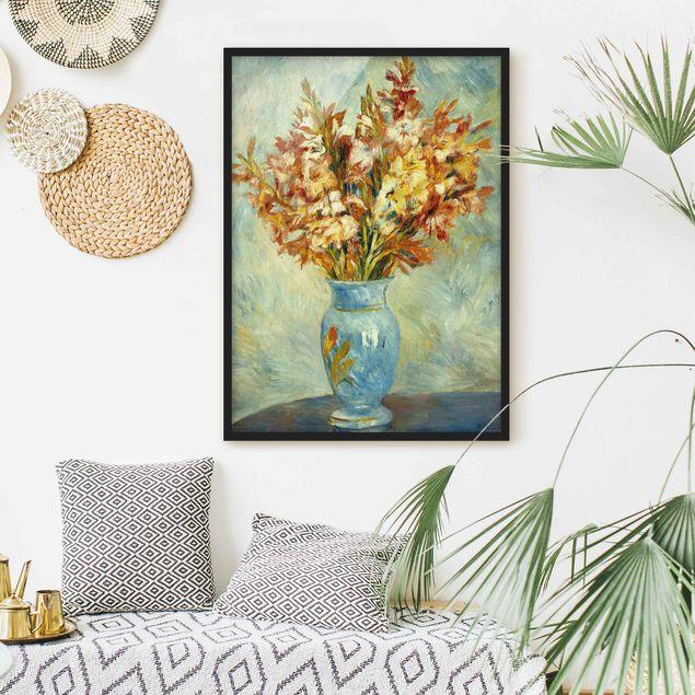 Bild mit Rahmen - Auguste Renoir - Gladiolen in Vase - Hochformat 3:4