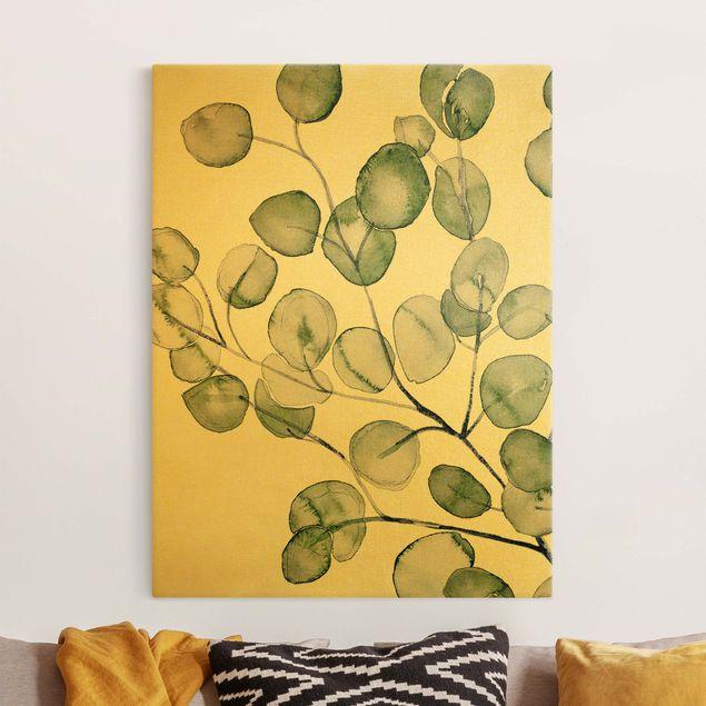 Leinwandbild Gold - Grünes Aquarell Eukalyptuszweig - Hochformat 3:4