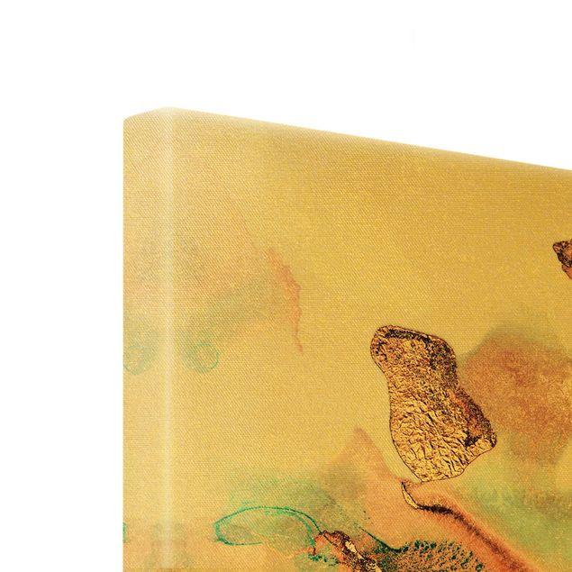 Leinwandbild Gold - Goldenes Aquarell Rosé - Hochformat 3:4
