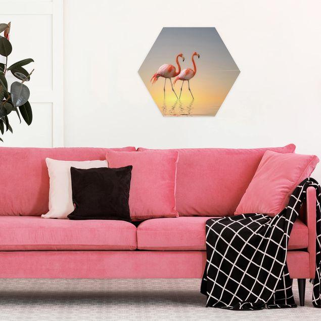 Hexagon Bild Alu-Dibond - Flamingo Love