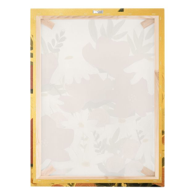 Leinwandbild Gold - Blumenvielfalt in Rosa und Weiß I - Hochformat 3:4