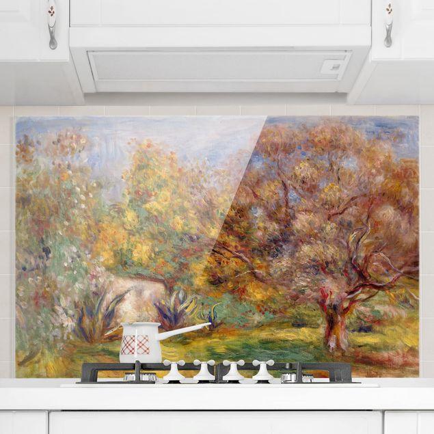 Spritzschutz Glas - Auguste Renoir - Garten mit Olivenbäumen - Querformat - 3:2