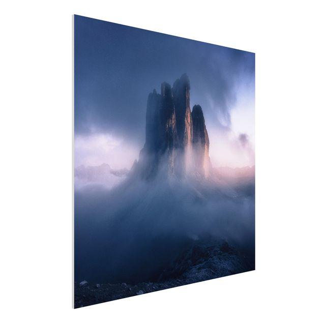 Forex Fine Art Print - Drei Zinnen in blauem Licht - Quadrat 1:1