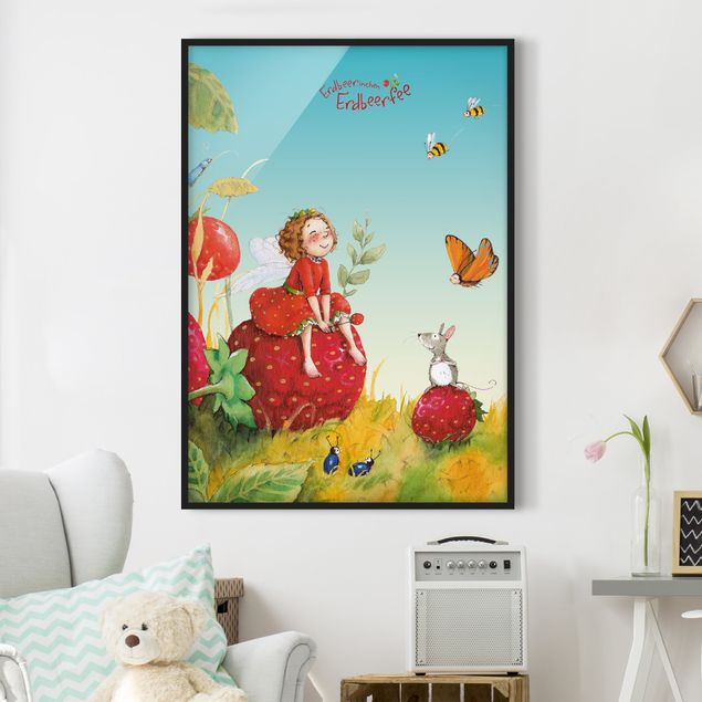 Bild mit Rahmen - Erdbeerinchen Erdbeerfee - Zauberhaft - Hochformat 3:4