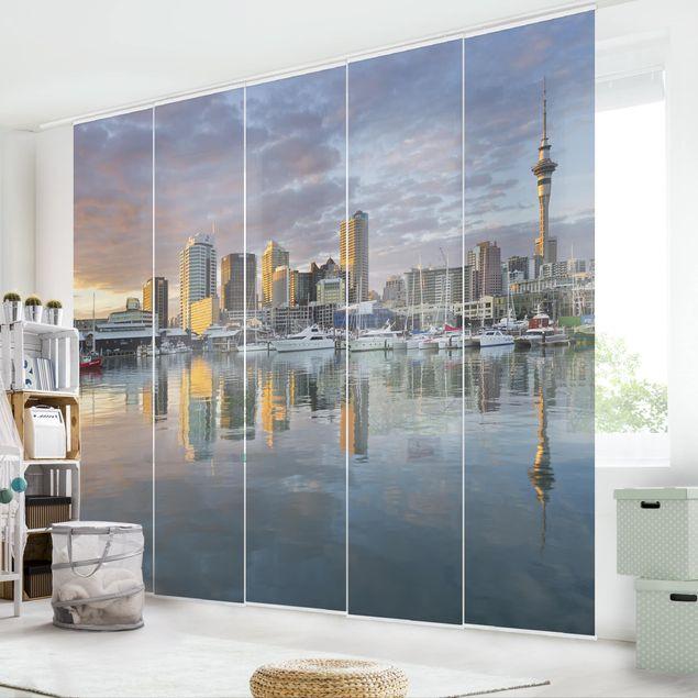Schiebegardinen Set - Auckland Skyline Sonnenuntergang - Flächenvorhänge