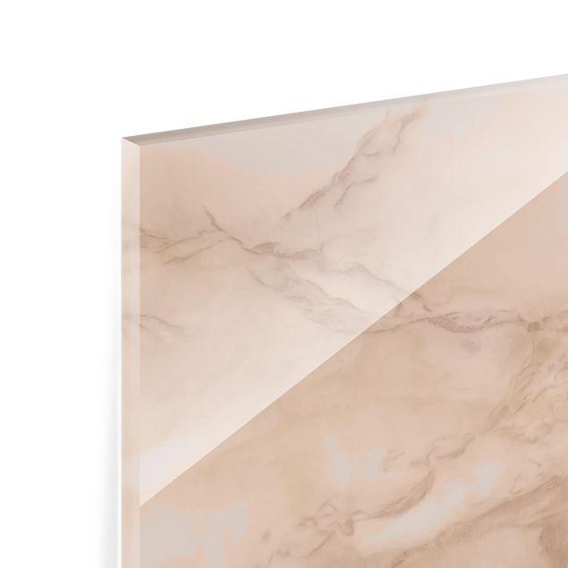 Glas Spritzschutz - Marmoroptik Grau Braun - Quadrat - 1:1